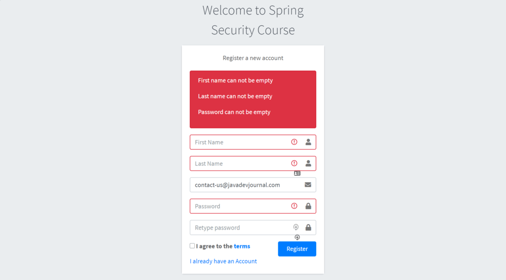 Spring Security Tutorial Validation errors