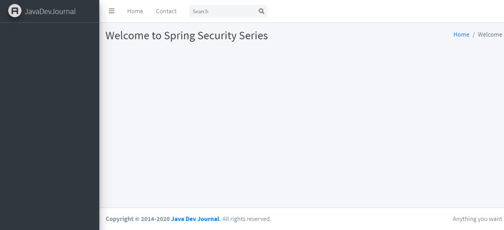 Spring Security Tutorial Welcome Page