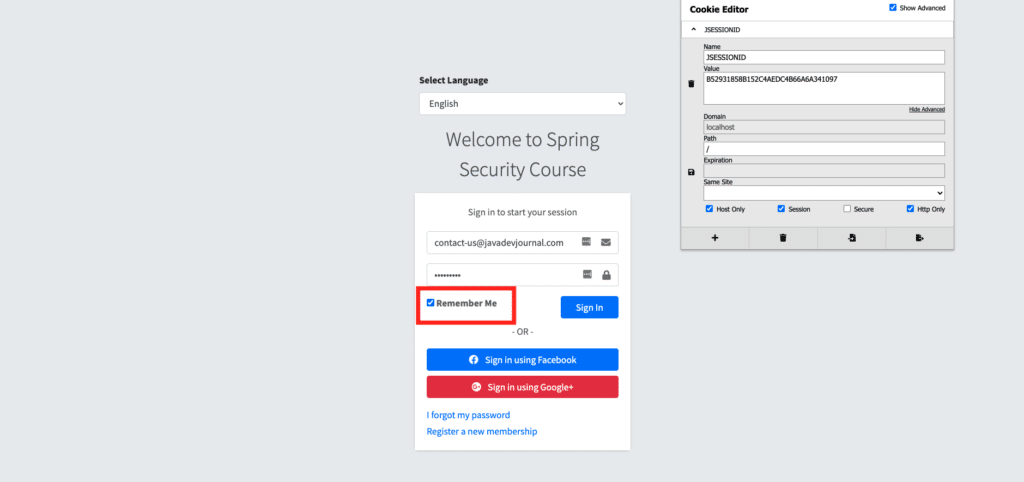 Spring security remember me authentication